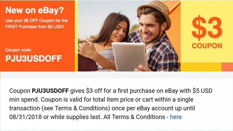 Купон ebay $3 от $5 2018 год