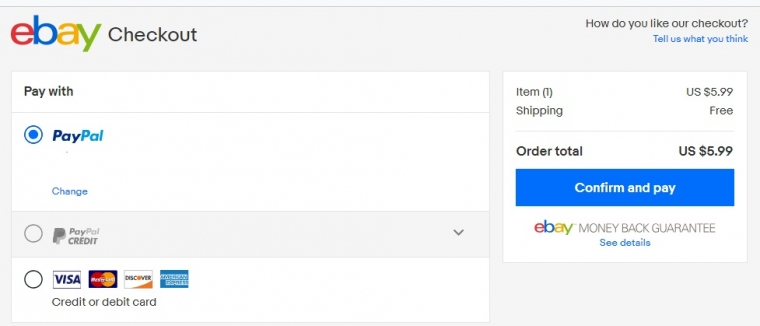 Выбор оплаты - Paypal на ebay