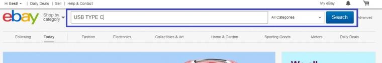 Поиск товара на ebay