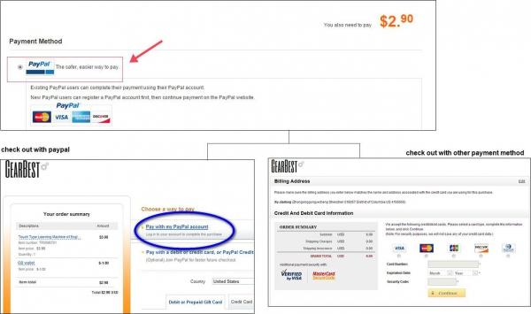 Способы оплаты на сайте gearbest