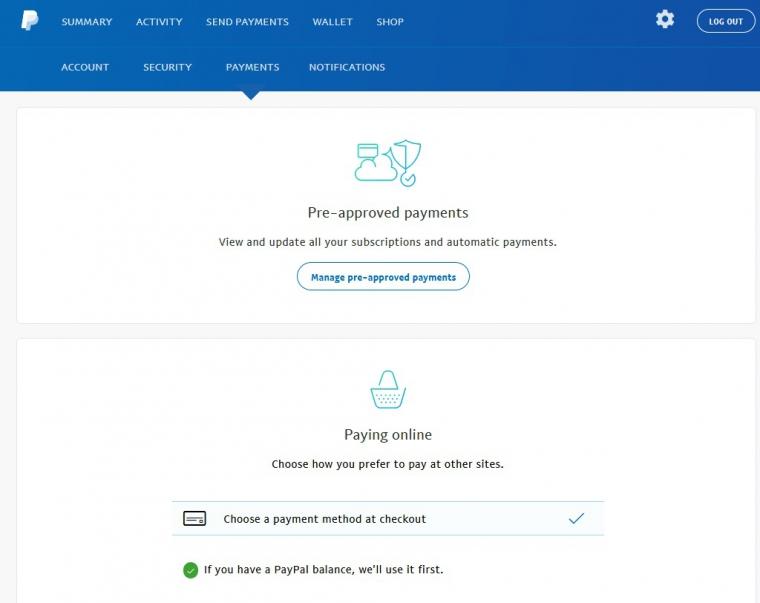 Настройки аккаунта paypal. Payments