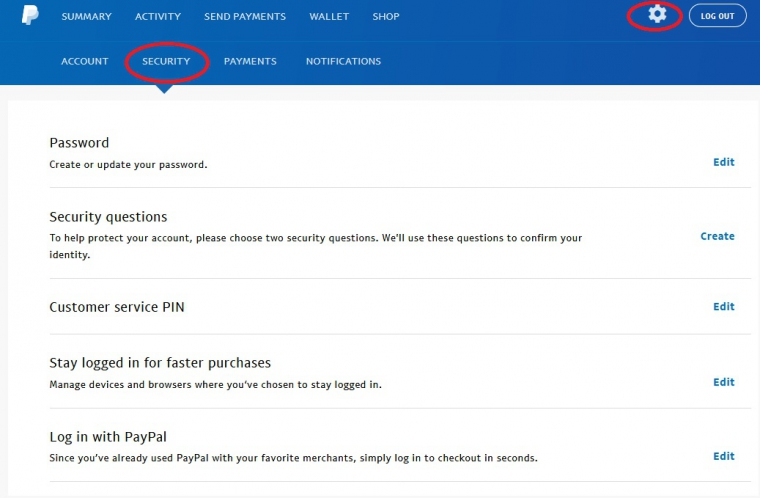 Настройки аккаунта paypal. Security