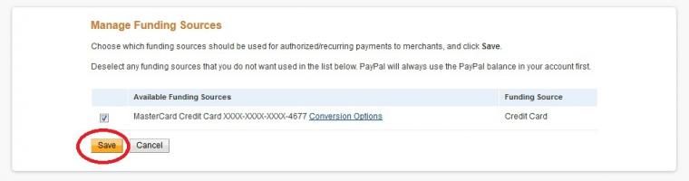 Сохранить опцию конвертации в paypal